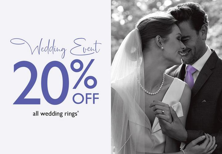 Wedding  Event 20% off all Wedding Rings at Ernest Jones