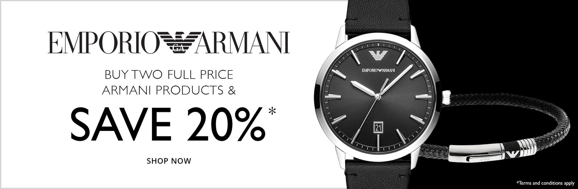 Buy 2 full price Armani products save 20% at  Ernest Jones