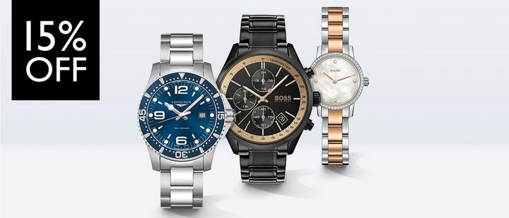 15% off watches at Ernest Jones