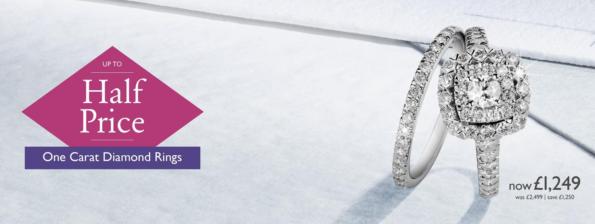 Up to half price one carat diamond rings at Ernest Jones