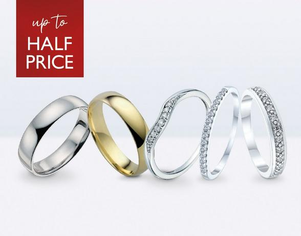 Up to half price wedding rings at Ernest Jones