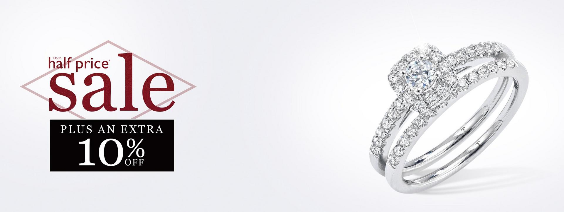 Up to 50% plus an extra 10% off Diamond Engagement Rings at Ernest Jones