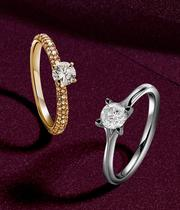 Find a ring from our collection of halo, cluster, halo or a 1 carat diamond rings at Ernest Jones