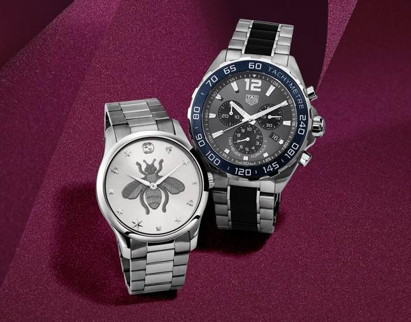 Branded watches for him and her in the Christmas Collection at Ernest Jones - Gucci and TAG Heuer