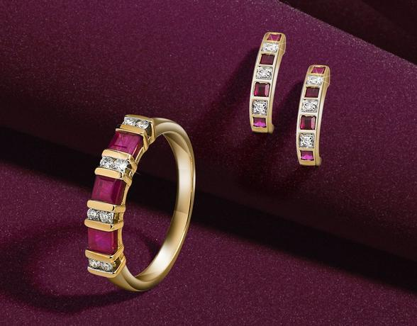 Ruby gemstone ring and earrings in the Christmas Gemstone Collection at Ernest Jones