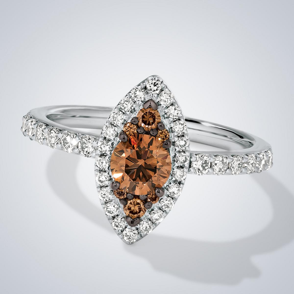 Pear shape Chocolate and Silver Le Vian ring