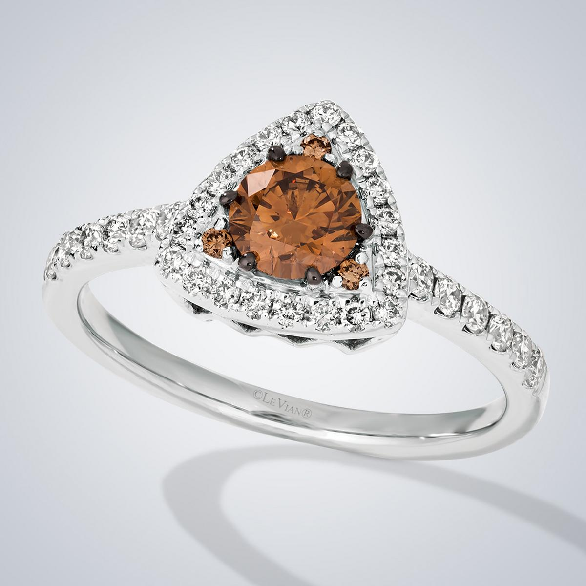 Choclate and Silver Le Vian ring on White background