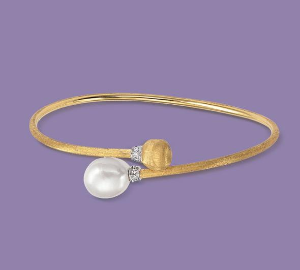 Marco Bicego Africa 18ct Yellow Gold Pearl Diamond Bangle