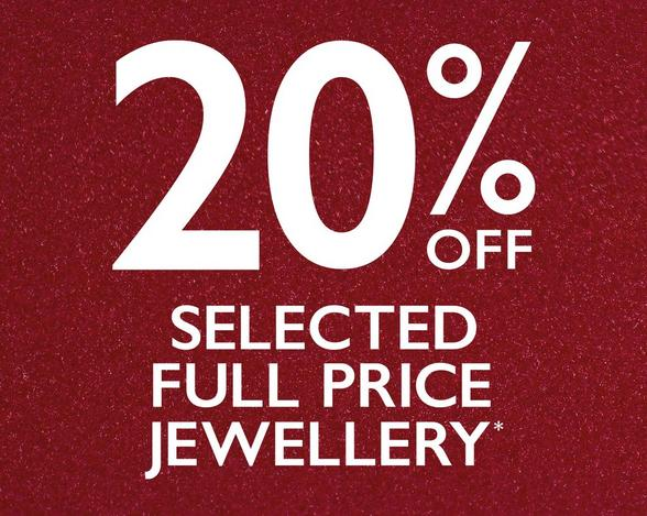 20% off selected jewellery at Ernest Jones