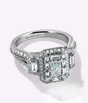 Vera Wang 18ct White Gold 0.95ct Diamond Cluster Ring