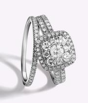 18ct White Gold 1ct Diamond Cushion Halo Bridal Set