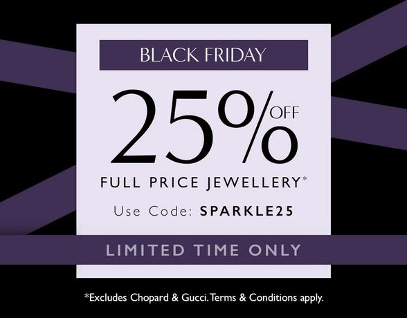 Up to 25% off selected jewellery on Black Friday at Ernest Jones