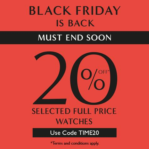 20% off selected full price watches at Ernest Jones