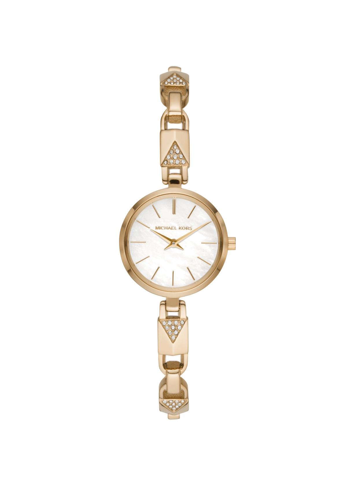Gold diamond watch on White backround
