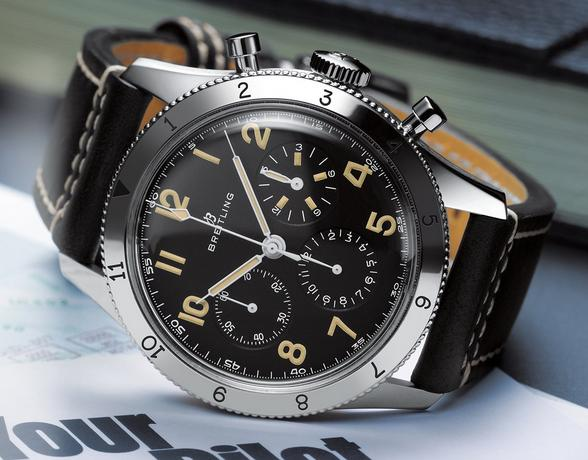 Breitling AVI Ref. 765 1953 Re-Edition Leather Strap Watch