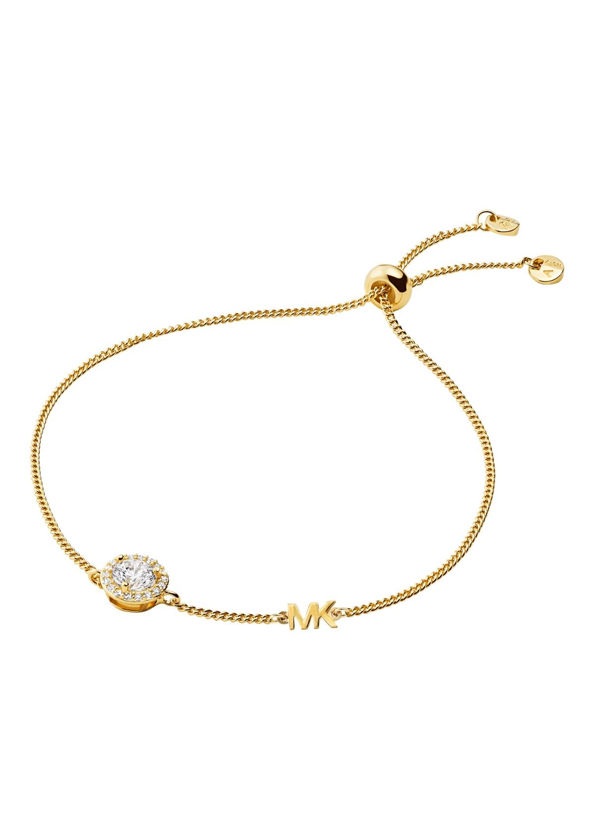 Gold diamond bracelet on White background