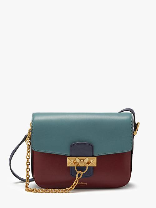 Mulberry Keeley Colour Block Satchel in Crimson