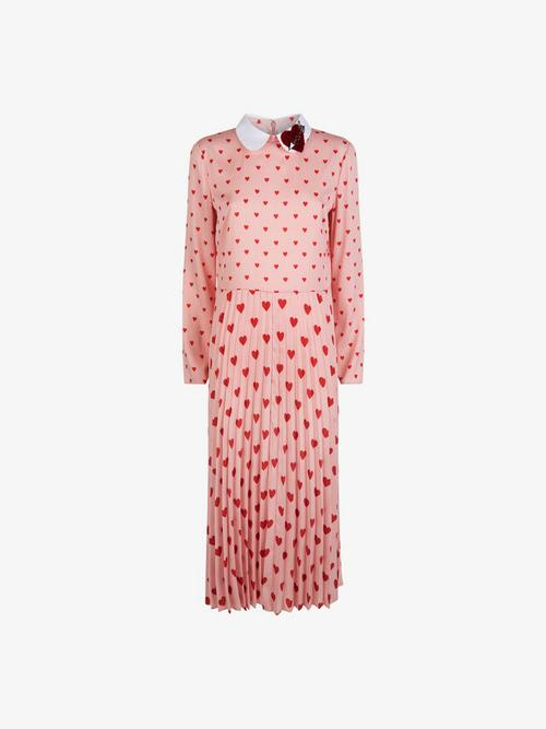 REDValentino Heart Collar and Print Pleated Dress