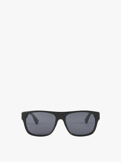 Gucci Stripe Temple Square Acetate Sunglasses
