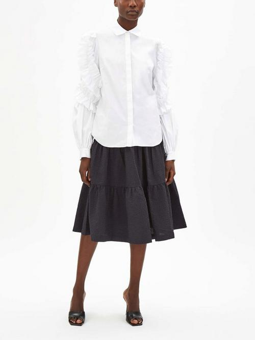 Peter Pilotto Cotton Gathered Sleeve Shirt