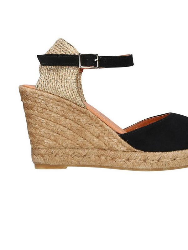 kurt geiger monty wedge heel espadrilles in black
