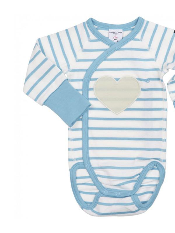 Polarn O.Pyret Striped Newborn Baby Bodysuit