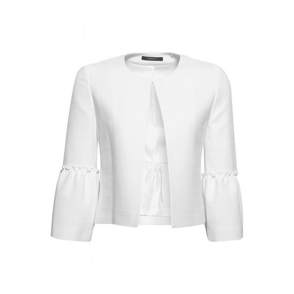 Esprit White Textured Jacket with Flounce Sleeves