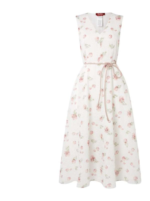 MaxMara Studio White Bouquet Tie Waist Dress