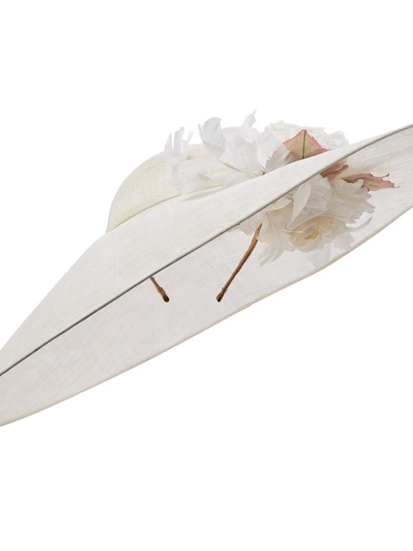 White wide brim Hostie Hat Collins with feathers