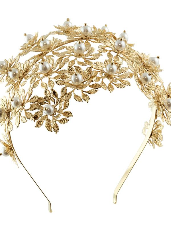 Gold Rosantica Flower Pearl Headband Grace