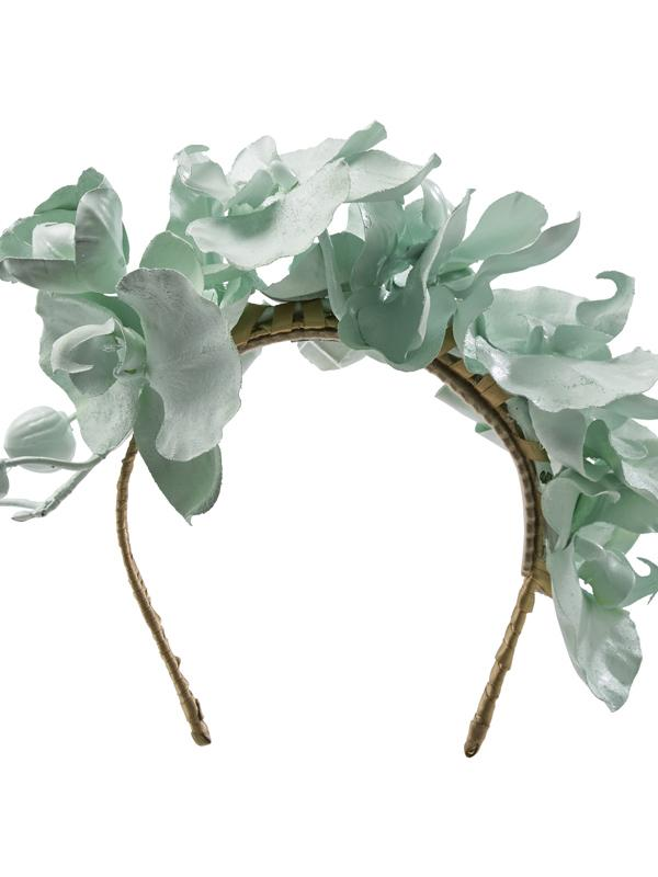 Green Hostie Hats Martini headband with petals