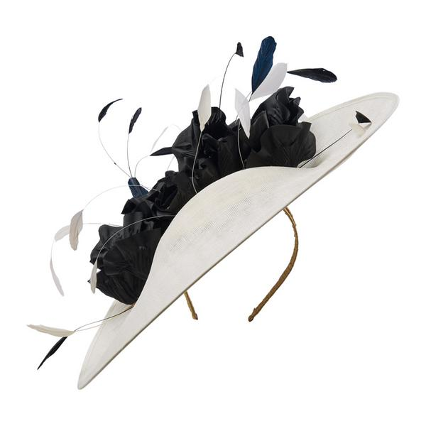 Black and white Hostie Hats Colada with feathers