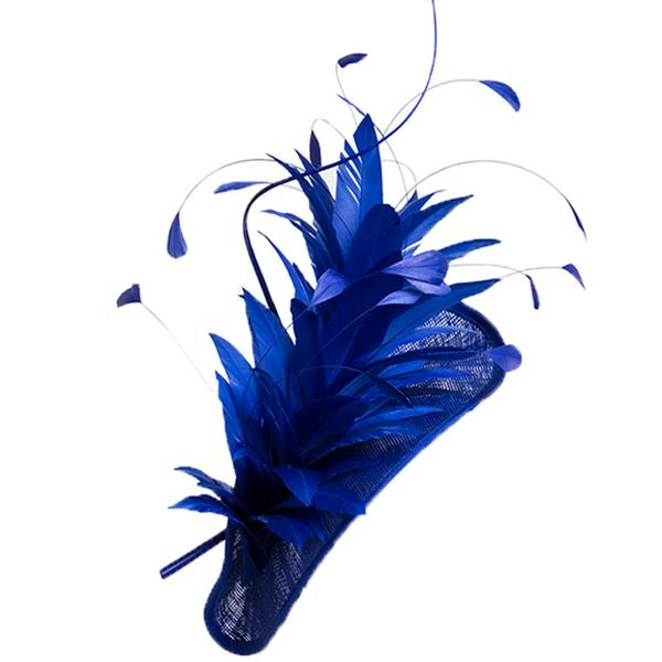 Whitely Maddox Feathered Pillbox Hat in Blue
