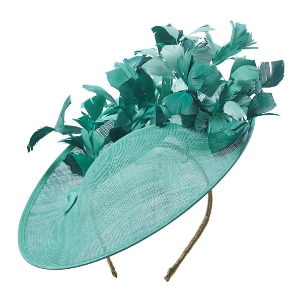 Green wide brim Hostie Hats Midori with feathers