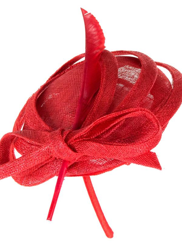 Red Whitely Maddox Tulip Fascinator with a bow