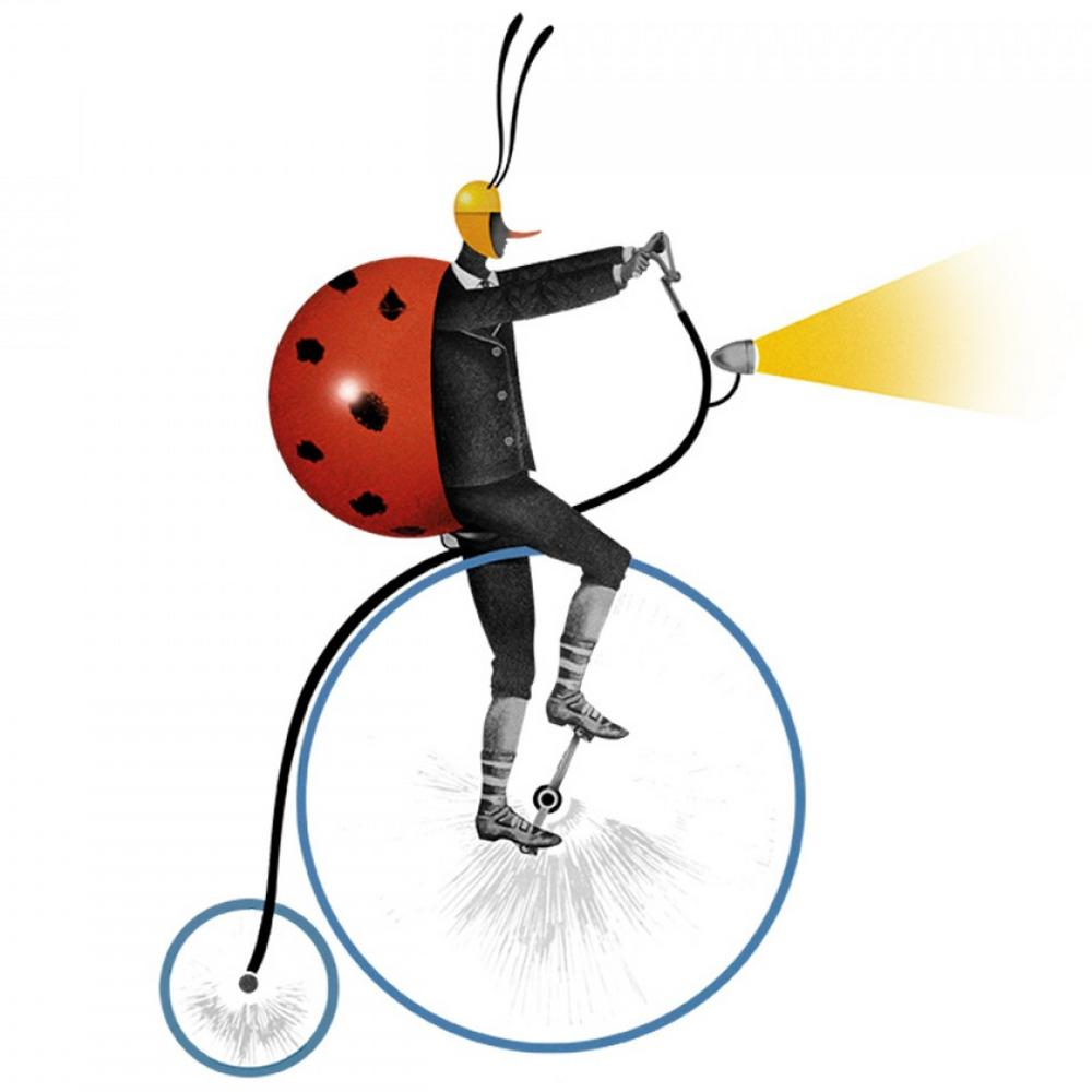 An illustrated ladybird on a bike