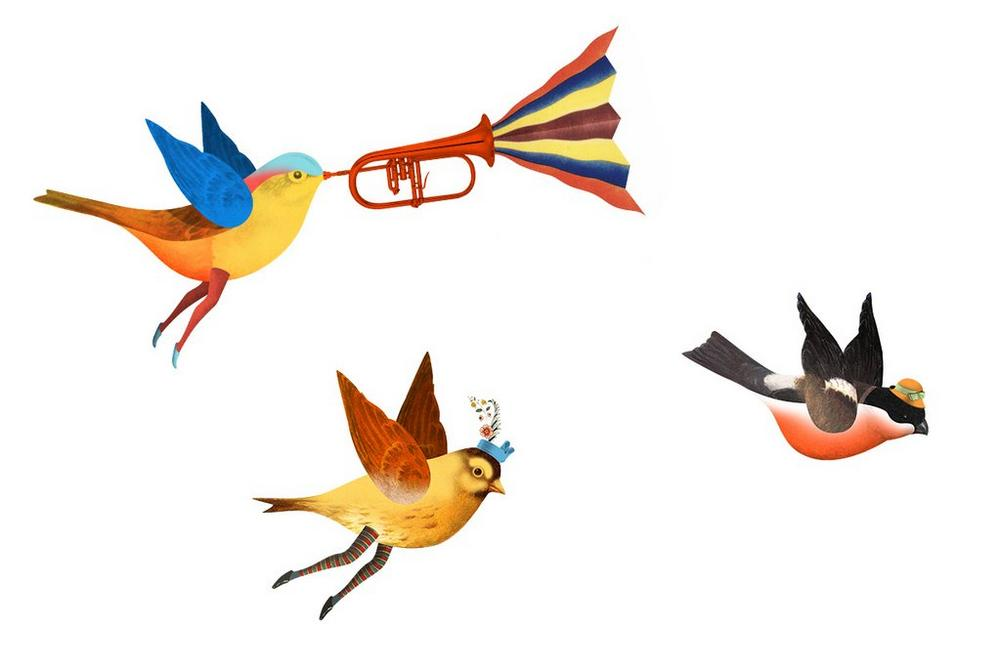 A set of three illustrated birds