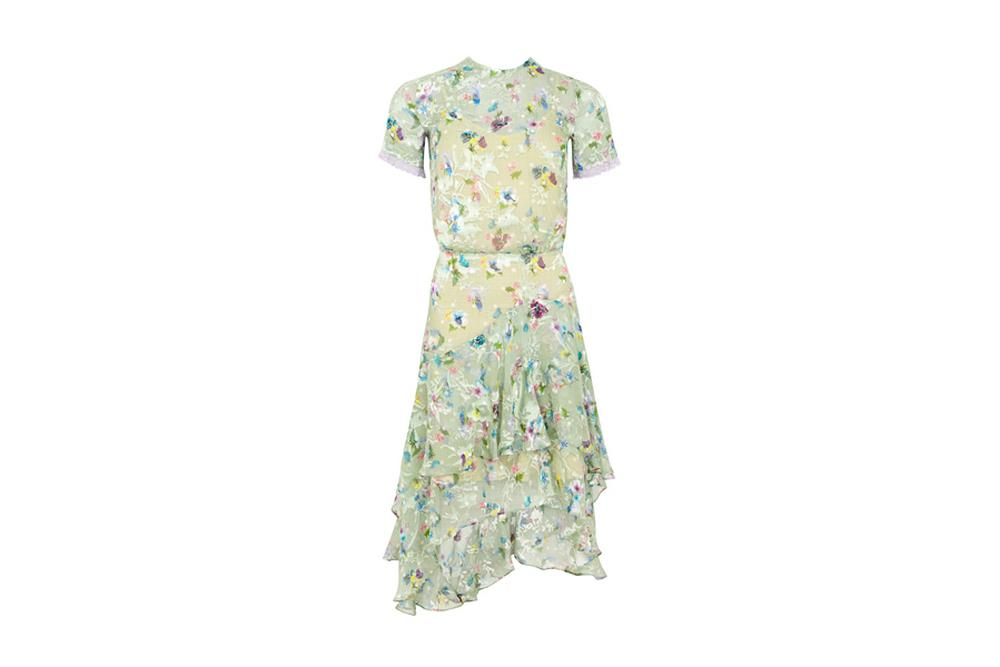 Preen Floral Short Sleeve Dress in Pistacho