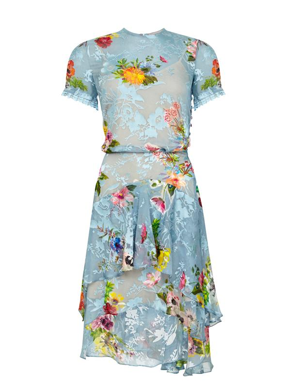 Preen Short Sleeve Dress in Blue Floral