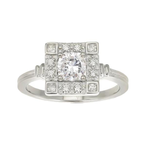 V Jewellery Odette Ring Art Deco Square Ring