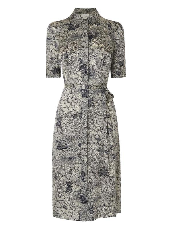L.K. Bennett Cheska Silk Dress in Navy and Cream