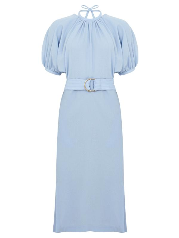 EUDON CHOI BOTTOM FRILL BELT DRESS SKY BLUE