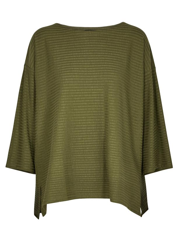 Eileen Fisher Olive Ribbed Jersey Top
