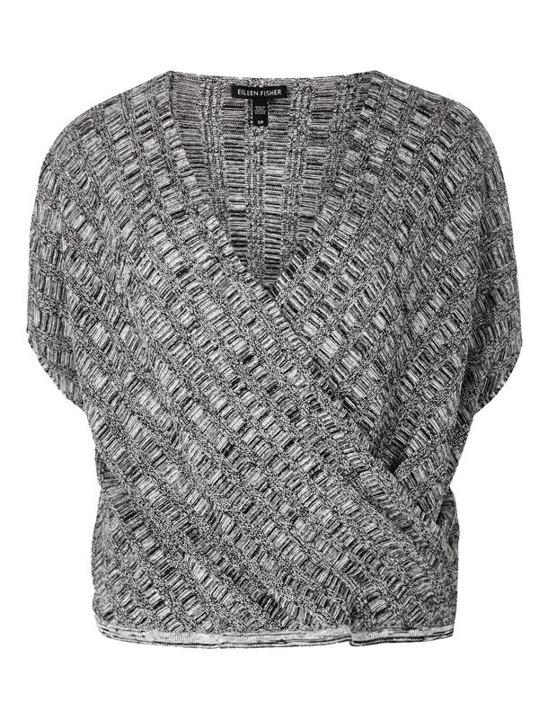 Eileen Fisher Grey Textured Knit Silk Blend Top
