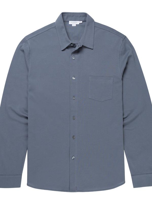 Long Sleeve Pique Shirt in Blue Slate
