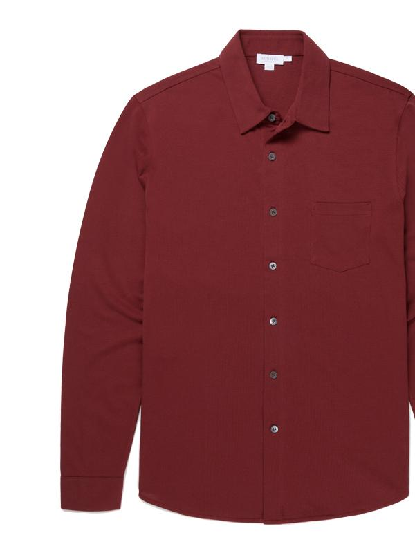 Long Sleeve Pique Shirt in GF Claret