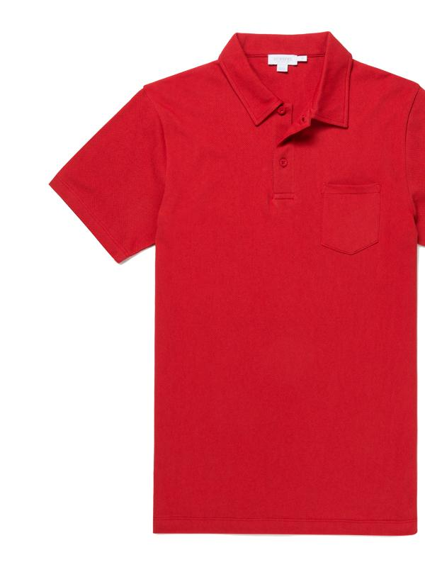 Short Sleeve Riviera Polo in Ruby Red