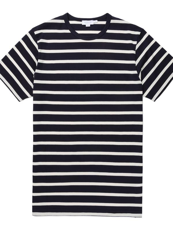 Breton Stripe Crew T-Shirt in Navy Stripe