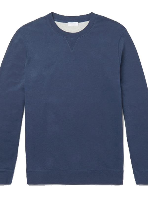 Cotton Jersey Sweatshirt in Navy Melange