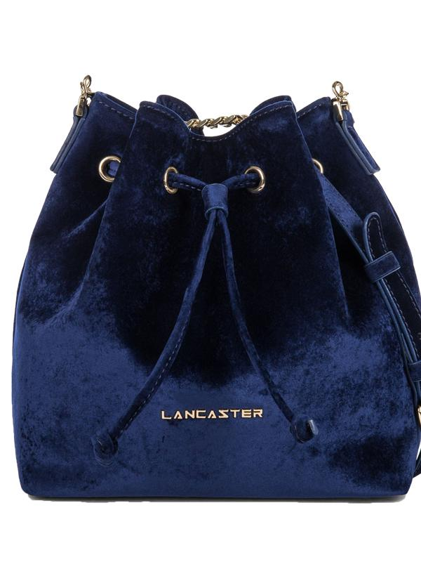 Lancaster Paris Small Velvet Bucket Bag in Blue